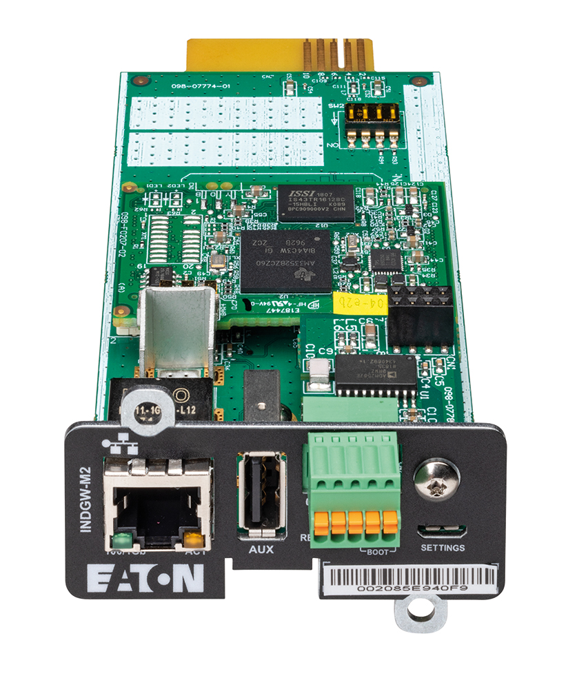 The Industrial Gateway Card provides real-time monitoring of the UPS system and environment through a Building Management System (BMS) or Industrial Automation System (IAS).