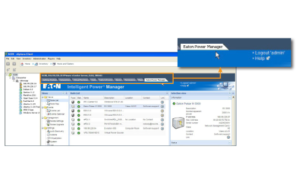 Eaton's Intelligent Power Manager software integrates seamlessly into VMware's Vcenter dashboard